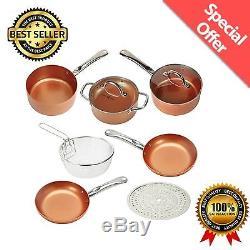 Copper Chef 9Pc Cookware Set Round Kitchenware Lids Pans Non-Stick Induction NEW