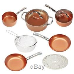 Copper Chef 9 Pc Cookware Set Round Kitchenware Lids Pans Non-Stick Induction