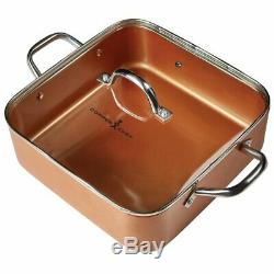 Copper Chef NONSTICK Cerami-Tech 8 /11 Deep Dish Pan 4 Pc Set Square Xams GIFT