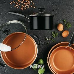 Copper Coating Cookware Non Stick Black Cooking Pot Pan Set Easy Clean Cook Home