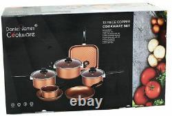 Copper Cookware 10 Piece Pan Set Saucepan Nonstick Stainless Steel Cooking Grill