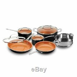 Copper Non Stick Cookware Set Pans Chef 10 Piece Nonstick Lid Ceramic Pots Cook