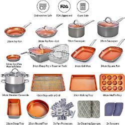 Copper Pots and Pans Set -23pc Ceramic Induction Non stick Cookware set