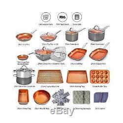 Copper Pots and Pans Set -23pc Copper Cookware Set Copper Pan Set Ceramic