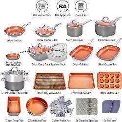Copper Pots and Pans Set Nonstick Cookware Set 23pc Induction Cookware Sets