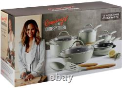 Cravings by Chrissy Teigen 12pc Aluminum Cookware Set Green Nonstick Home Chef
