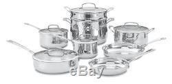 Cuisinart Contour Stainless Steel 13-Piece Cookware Set and Lids, Pan Pans Pots