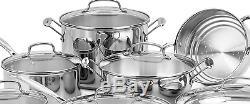 Cuisinart Stainless Steel 17-Piece Cookware Set Cooking Dinner Pan Nonstick