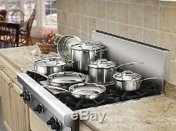 Cuisinart Stainless Steel Cookware Set Kitchen Pots And Pans 12-Piece Triply