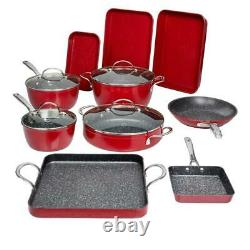 Curtis Stone 14-piece DuraPan Nonstick All-Purpose Cookware Set-Red
