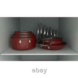 Curtis Stone 17-piece Dura-Pan Nonstick Nesting Cookware Set-Cherry Red
