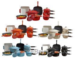 Deluxe Cast Iron Enamel Cookware Set Casserole Dish Griddle Pan 3 5 8 Piece