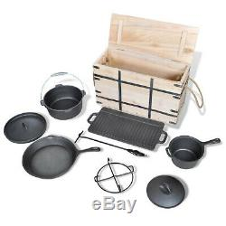 Dutch Oven Set Sauce Pot Fry Pan with Lids Wooden Box Lid Lifter 9 Pieces Kit