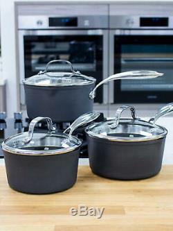 Eaziglide Neverstick3 Professional Non-Stick Lidded Saucepan Set, 3 Pc READ