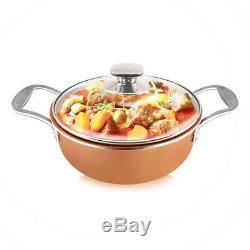 Essential Non-Stick 11 Pieces Copper Cookware Saucepan Set with induction & lid