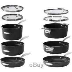 GRANITESTON Cookware Set Pot Pan Titanium Coating Non Stick StackMaster 10 Piece