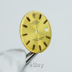 Gen Rolex Two Tone Gold Stick Dial DateJust Pie Pan Non Quickset Slow Set 1601