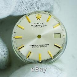 Gen Rolex Two Tone Silver Stick Dial DateJust Pie Pan Non Quickset Slow Set 1601