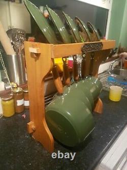 Genuine Le Creuset Pan Set Green Cast Iron Saucepans Pots With Lids & Stand