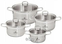 Gerlach Brava Set Of Pots 8 Pcs Cookware Stewpots Glass Lids Pot LID Kitchen New