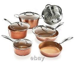 Gotham Steel 11 Piece Hammered Nonstick Copper Cookware Set Bonus Egg Pan