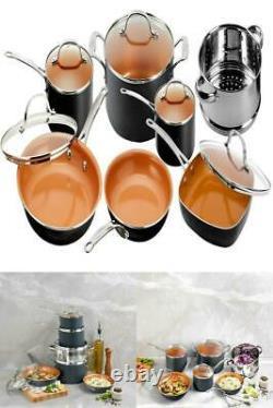 Gotham Steel 12 Piece Hammered Nonstick Copper Cookware Set No Stick No Oil N