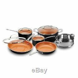 Gotham Steel Cookware Bakeware 20-Piece Non-Stick Pot Pan Casserole Set (Copper)