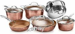 Gotham Steel Hammered 10 Piece Copper Cookware Set Non-stick Induction Pots Pans