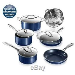 Granitestone Cookware Set Lid Cover Non Stick Pan Pot 10 Piece Blue Aluminum New