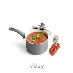 GreenLife Ceramic Non-Stick 18 Piece Cookware Set Pots Pans Utensils Gray New