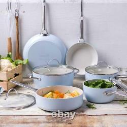 GreenPan Padova Healthy Ceramic Nonstick Toxin-Free Light Blue Cookware 10-Piece