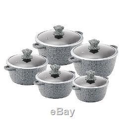 Grey 5pc GRANITE Non Stick Die-Cast Casserole Pan Pot Set INDUCTION Cookware