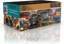 Hairy Bikers 5 Piece Forged Sauce Pan Set 16cm 18cm 20cm Glass Lid CKW2102