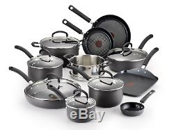 Hard Anodized Cookware Set, Nonstick Pots and Pans Set, 17 Piece, Thermo