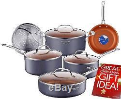 Healthy Induction Ceramic Cookware Set Pot/Pan Non-Stick Copper Kitchen 10 pcs