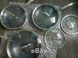 HexClad 6 Piece Cookware Pan Set Hybrid Stainless Steel/Nonstick + bonus lids