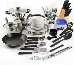 Home Kitchen Cookware Set Pots Pans Dishes Flatware Utensils Tupperware 83 Pc