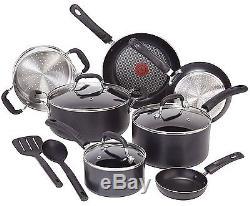 Induction Cookware Set Pots And Pans Nonstick T-Fal Professional 12 Piece Black