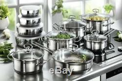 Induction Hob Saucepan Set Non-Stick Stainless Steel Cookware 20-Piece Pots Pans