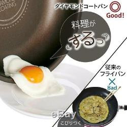 Iris Ohyama Diamond Coated pot frying pan set, nonstick removable handles