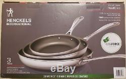 J. A. Henckel 3-ply 3-pc Stainless Steel Ceramic Nonstick Fry Pan Set