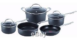 Jamie Oliver by Tefal Hard Anodised 5 Piece Cookware Set Frying Pan Saucepan