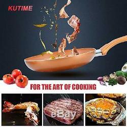 KUTIME 10pcs Cookware Set Pot and Pan Set Non-stick Frying Pans Set 10 Copper