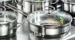 Karcher Jasmin Cookware Set with Pan, Stainless Steel, 20-Piece with glass Li