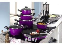 Karl Kruger 17 Piece Aluminum Non Stick Cookware Set Pans, Utensils Purple
