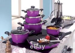 Karl Krüger 17/l Cooking Pot Set Pans 17 Pieces Frying Pan + Kitchen Gadget Set