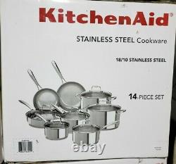 KitchenAid Stainless Steel Cookware Set, (14 pc.), ColorRed or Black or Silver