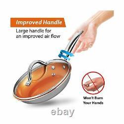 Kitchen Cookware Ceramic Nonstick Pots Pans Ergonomic Handle 13 Pc Set Gray New