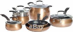 Kitchen Cookware Set Aluminum Nonstick 11 Piece Fry Pan Saucepan Pot in Copper