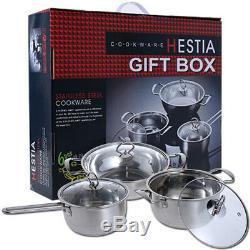 Kitchen Cookware Stainless Steel Glass LID 6pcs Hob Casserole Wok Saucepan Set
